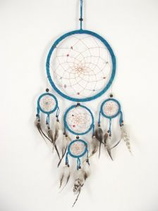 Dream Catcher~Large Light Brown Multi Web Dream Catcher Suede 16cm~Fair Trade DRC003